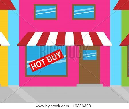 Hot Buy Sign Shows Cheap Bargains 3D Illustration
