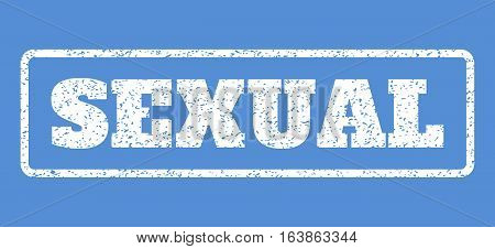 White rubber seal stamp with Sexual text. Vector caption inside rounded rectangular banner. Grunge design and dust texture for watermark labels. Horisontal sign on a blue background.