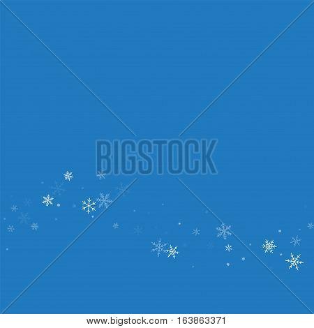 Sparse Snowfall. Bottom Wave On Blue Background. Vector Illustration.