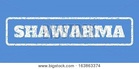 White rubber seal stamp with Shawarma text. Vector caption inside rounded rectangular banner. Grunge design and scratched texture for watermark labels. Horisontal emblem on a blue background.
