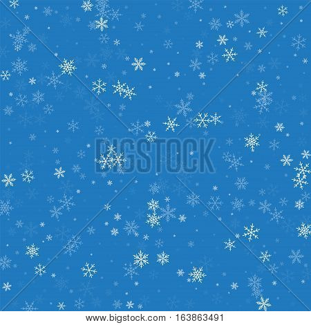 Sparse Snowfall. Scattered Pattern On Blue Background. Vector Illustration.