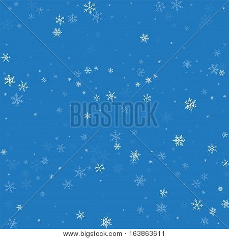 Sparse Snowfall. Scatter Horizontal Lines On Blue Background. Vector Illustration.