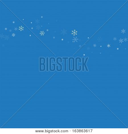 Sparse Snowfall. Top Wave On Blue Background. Vector Illustration.
