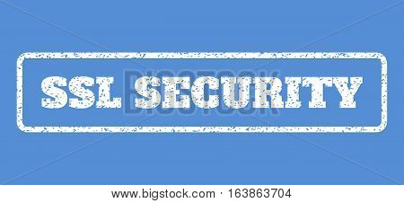 White rubber seal stamp with SSL Security text. Vector message inside rounded rectangular shape. Grunge design and unclean texture for watermark labels. Horisontal emblem on a blue background.