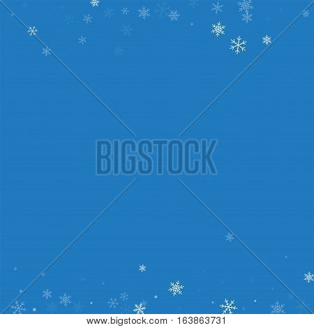 Sparse Snowfall. Borders On Blue Background. Vector Illustration.
