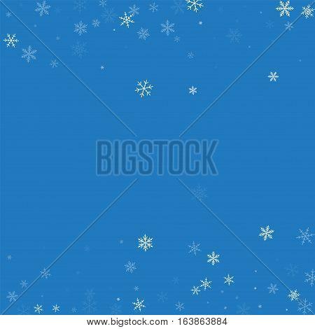 Sparse Snowfall. Scattered Border On Blue Background. Vector Illustration.