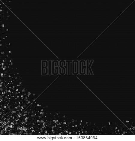 Beautiful Snowfall. Abstract Left Bottom Corner On Black Background. Vector Illustration.