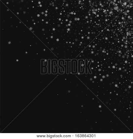 Beautiful Snowfall. Scattered Top Right Corner On Black Background. Vector Illustration.