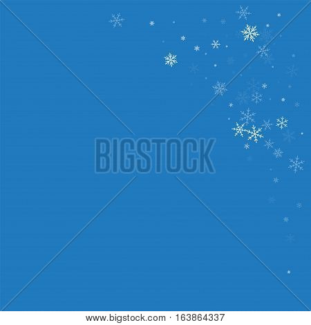 Sparse Snowfall. Top Right Corner On Blue Background. Vector Illustration.