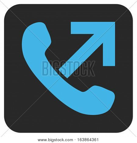 Outgoing Call glyph icon. Image style is a flat icon symbol inside a rounded square button blue and gray colors.