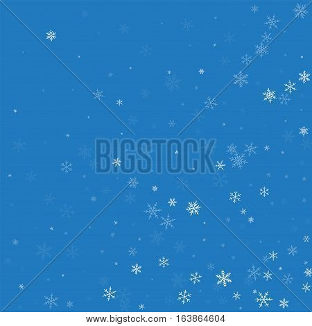 Sparse Snowfall. Abstract Random Scatter On Blue Background. Vector Illustration.