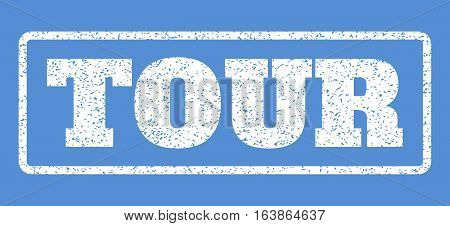 White rubber seal stamp with Tour text. Vector caption inside rounded rectangular banner. Grunge design and dust texture for watermark labels. Horisontal sticker on a blue background.