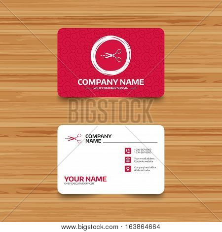 Business card template with texture. Scissors with cut dash dotted line sign icon. Tailor symbol. Phone, web and location icons. Visiting card  Vector