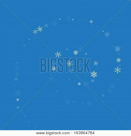 Sparse Snowfall. Spiral On Blue Background. Vector Illustration.