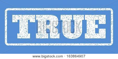 White rubber seal stamp with True text. Vector message inside rounded rectangular shape. Grunge design and scratched texture for watermark labels. Horisontal emblem on a blue background.