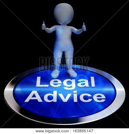Legal Advice Button Shows Attorney 3D Rendering