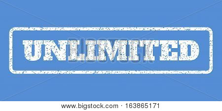 White rubber seal stamp with Unlimited text. Vector tag inside rounded rectangular frame. Grunge design and scratched texture for watermark labels. Horisontal sticker on a blue background.