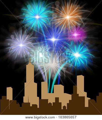 Fireworks Over City Meaning Festive Party Pyrotechnics