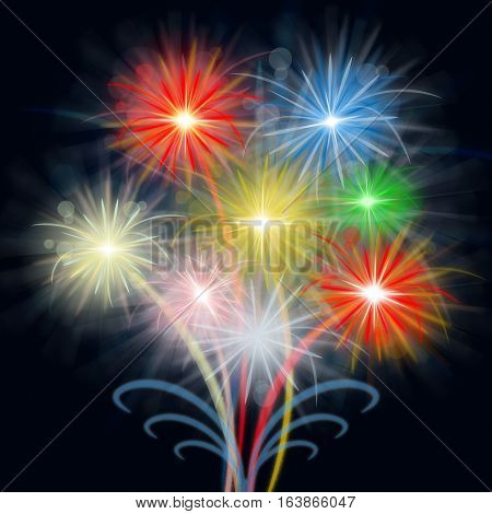 Fireworks Display Shows Pyrotechnics And Explosive Celebration