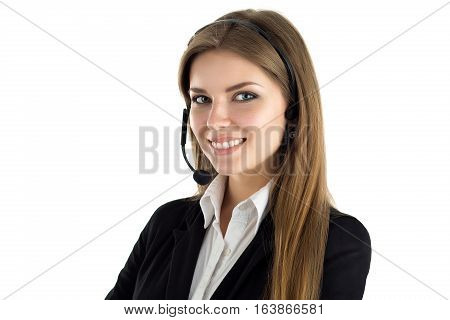 Portrait of young beautiful smiling call center worker talking to someone. Smiling customer support operator at work. Help and support or distant education concept. Isolated over white background