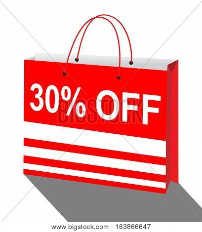 Thirty Percent Off Means Discount 3D Illustration