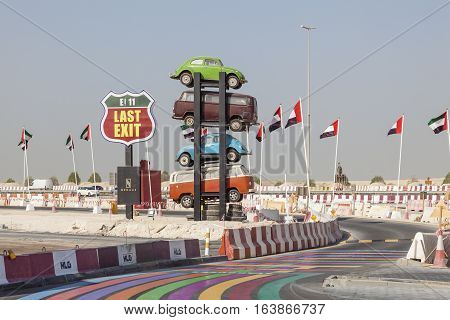 DUBAI UAE - NOV 27 2016: Last Exit food trucks park on the E11 highway between Abu Dhabi and Dubai United Arab Emirates