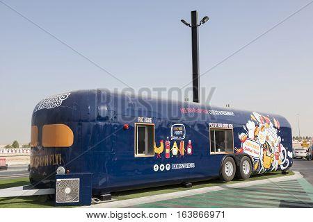 DUBAI UAE - NOV 27 2016: Caravan food truck at the Last Exit food trucks park on the E11 highway between Abu Dhabi and Dubai