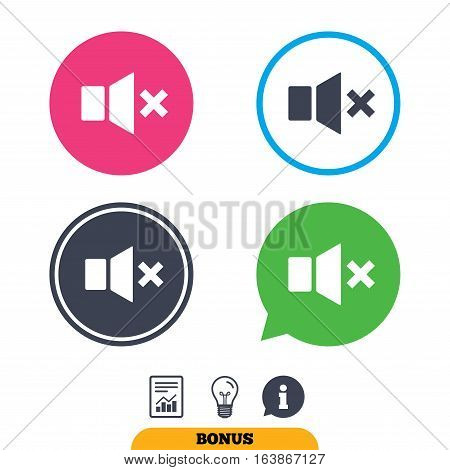 Mute speaker sign icon. Sound symbol. Report document, information sign and light bulb icons. Vector