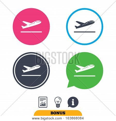 Plane takeoff icon. Airplane transport symbol. Report document, information sign and light bulb icons. Vector