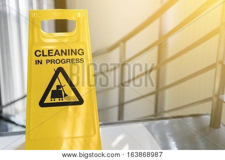 cleaning progress caution sign in office building