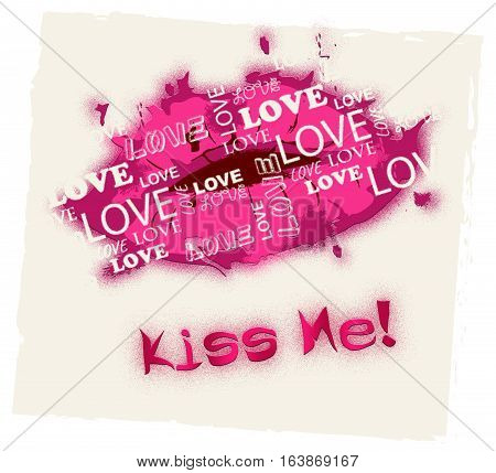 Kiss Me Means Romantic Kisses And Love