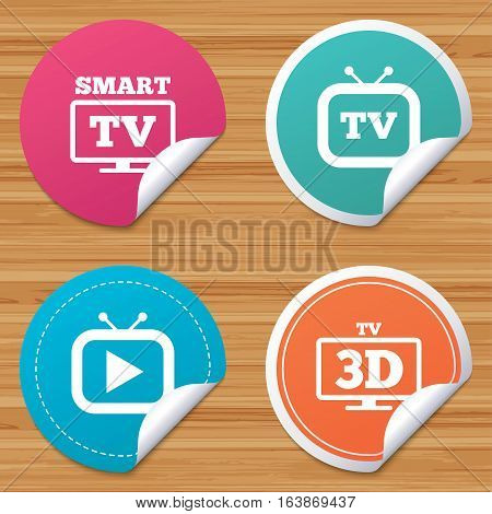 Round stickers or website banners. Smart 3D TV mode icon. Widescreen symbol. Retro television and TV table signs. Circle badges with bended corner. Vector