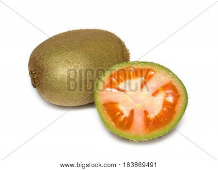 Collage kiwi with tomato. Kiwi isolated on white background. Surrealism fruits and vegetables. Genetically modified food GMO.