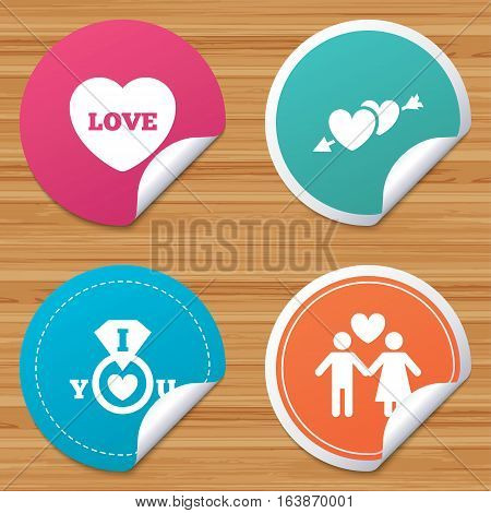 Round stickers or website banners. Valentine day love icons. I love you ring symbol. Couple lovers sign. Circle badges with bended corner. Vector
