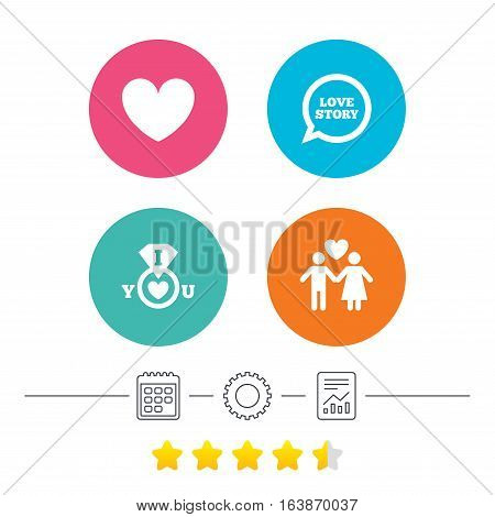 Valentine day love icons. I love you ring symbol. Couple lovers sign. Love story speech bubble. Calendar, cogwheel and report linear icons. Star vote ranking. Vector