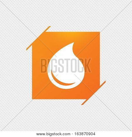 Water drop sign icon. Tear symbol. Orange square label on pattern. Vector