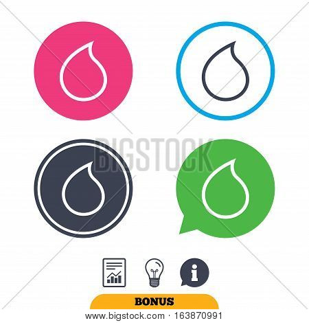 Water drop sign icon. Tear symbol. Report document, information sign and light bulb icons. Vector