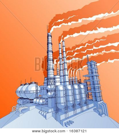 Industry concept: abstract plant with acid sky