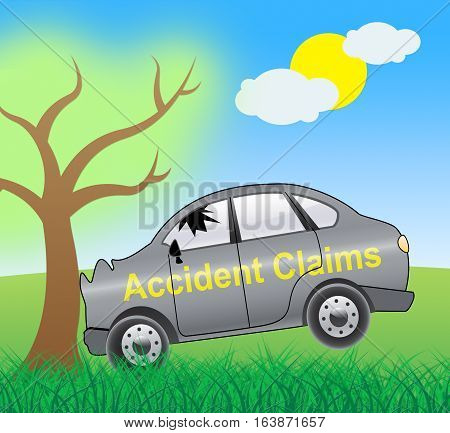 Accident Claims Showing Policy Claim 3D Illustration