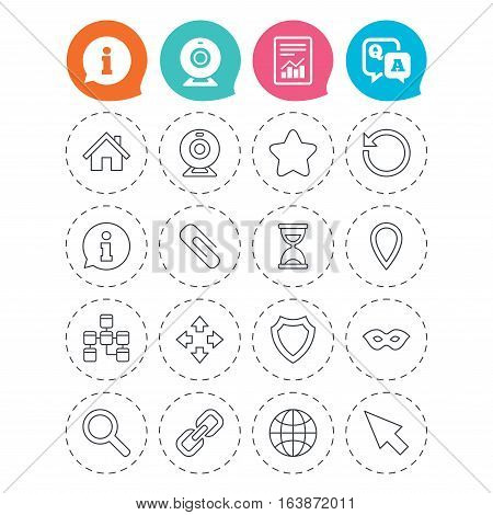 Web elements icons. Paperclip, video camera and information speech bubble. Database, anonymous mask and secure shield. Information, question and answer icons. Web camera, report signs. Vector