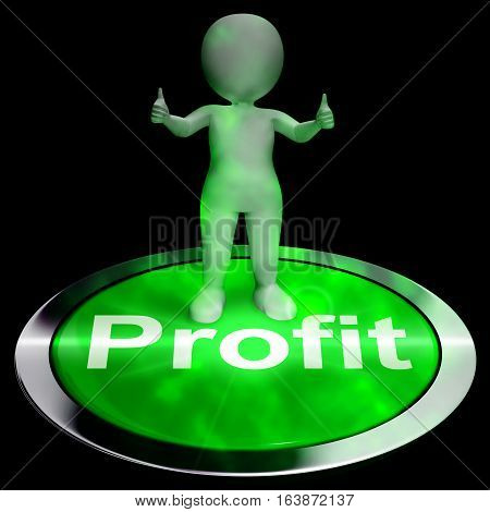 Profit Computer Button Shows Earnings 3D Rendering