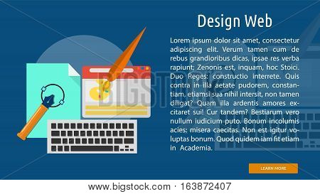 Design Web Conceptual Banner | Great flat icons with style long shadow icon and use for web, development, concept, marketing and much more.