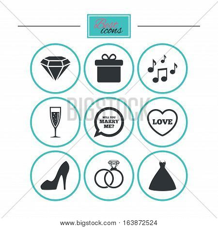 Wedding, engagement icons. Rings, gift box and brilliant signs. Dress, shoes and musical notes symbols. Round flat buttons with icons. Vector