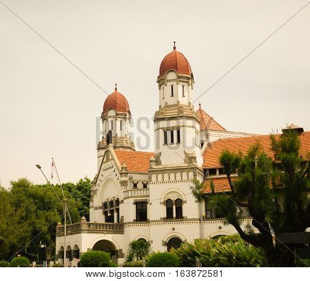 One of corner at Lawang Sewu with two dome photo taken in Semarang Indonesia java
