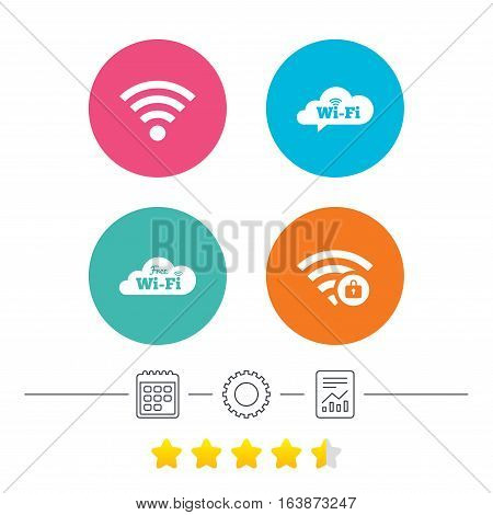 Free Wifi Wireless Network cloud speech bubble icons. Wi-fi zone locked symbols. Password protected Wi-fi sign. Calendar, cogwheel and report linear icons. Star vote ranking. Vector