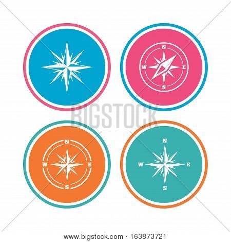 Windrose navigation icons. Compass symbols. Coordinate system sign. Colored circle buttons. Vector