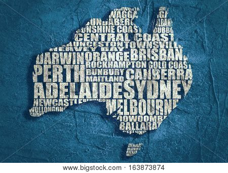 Map of Australia made from cities list. Grunge textured backdrop