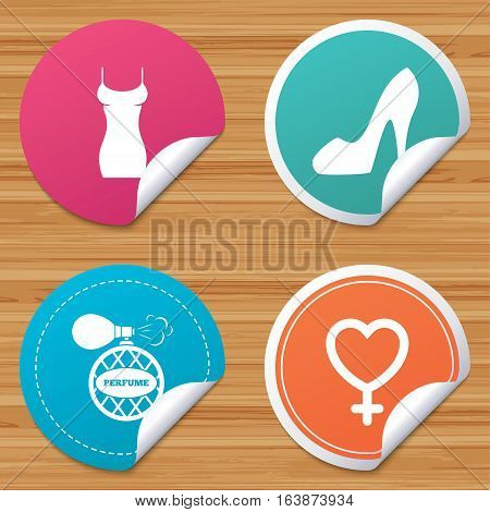 Round stickers or website banners. Women dress icon. Sexy shoe sign. Perfume glamour fragrance symbol. Circle badges with bended corner. Vector