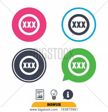 XXX sign icon. Adults only content symbol. Report document, information sign and light bulb icons. Vector