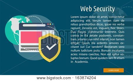 Web Security Conceptual Banner | Great flat icons with style long shadow icon and use for web, development, concept, marketing and much more.